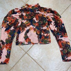 Flora smock-detail satin blouse